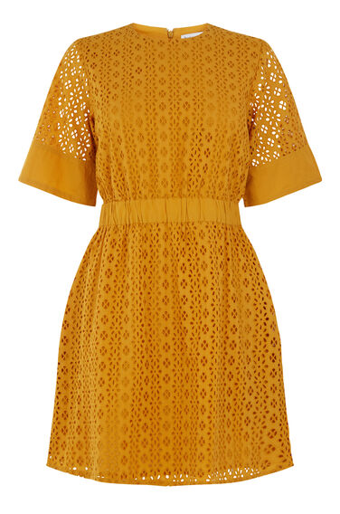 Warehouse, BRODERIE DRESS Yellow 0