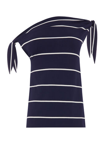 Warehouse, STRIPE TIE SHOULDER TOP Blue Stripe 0