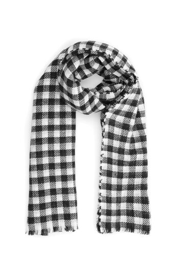 Warehouse, DOGTOOTH AND CHECK SCARF Black Pattern 0
