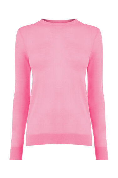 Warehouse, WOOL CREW JUMPER Bright Pink 0