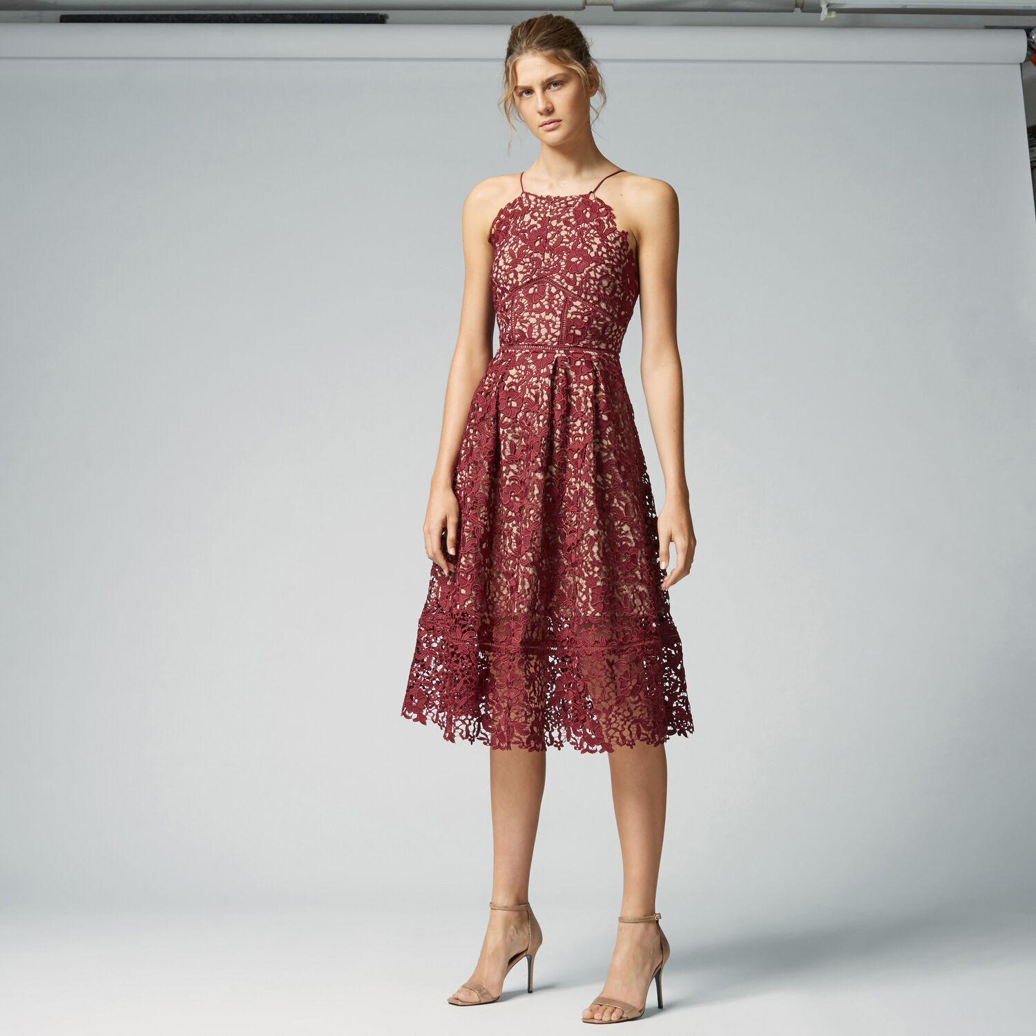 Warehouse, LACE HALTER DRESS Berry 1