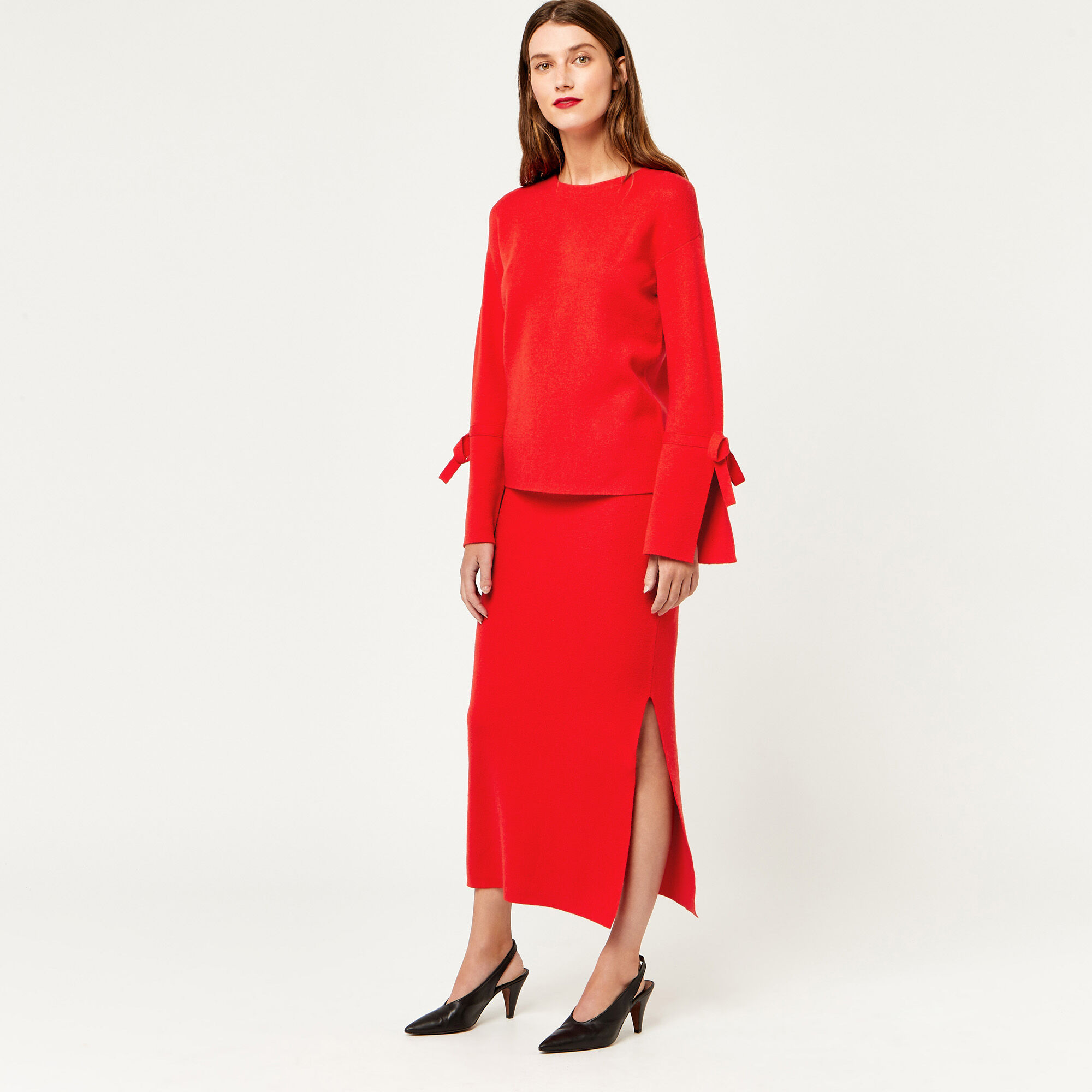 Warehouse, MILANO KNITTED SKIRT Bright Red 1