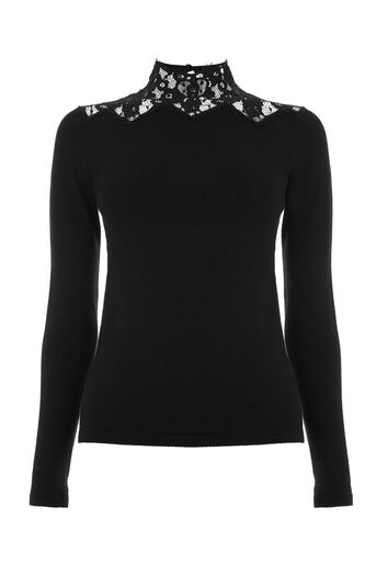 Warehouse, LACE HIGH NECK JUMPER Black 0