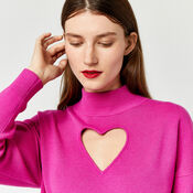 Warehouse, HEART CUT OUT JUMPER Bright Pink 1
