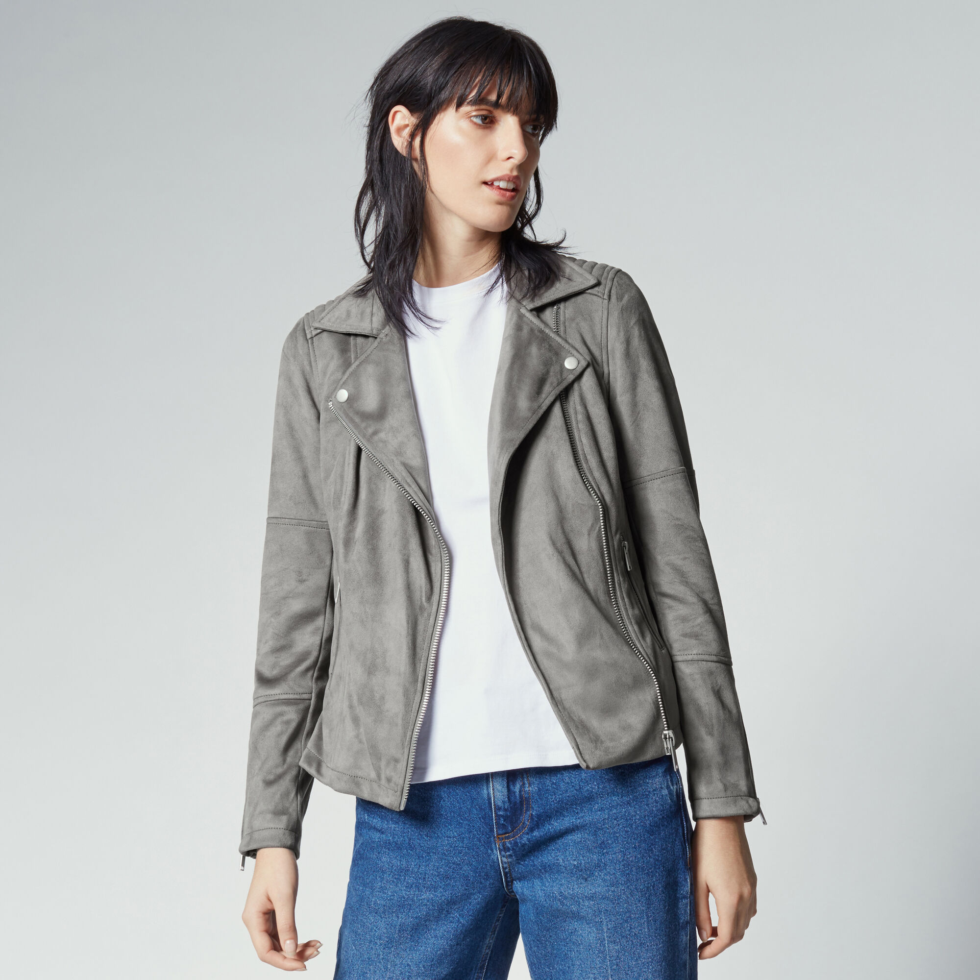 Warehouse, Suedette Biker Jacket Dark Grey 1