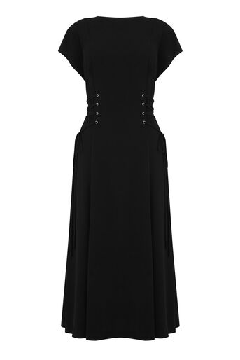 Warehouse, CORSET DETAIL MIDI DRESS Black 0