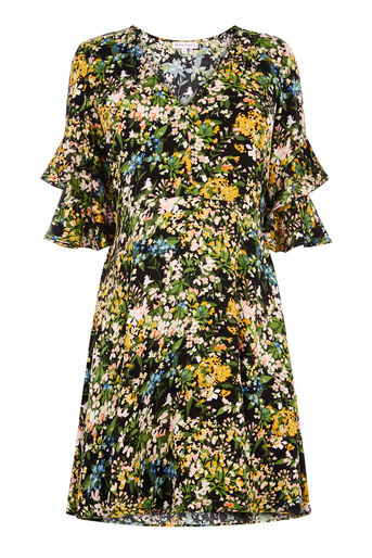Warehouse, PAINTED MEADOW TEA DRESS Black Pattern 0