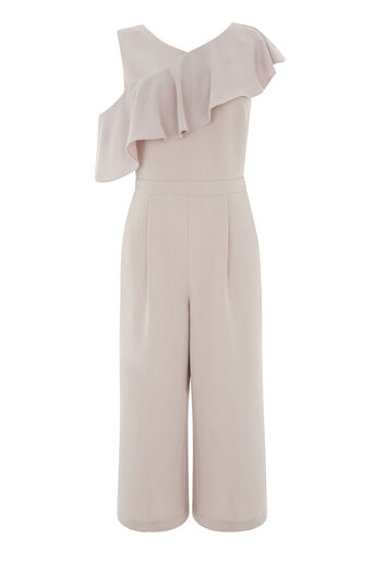 Warehouse, ASYMMETRIC RUFFLE JUMPSUIT Light Grey 0