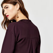 Warehouse, LONG SLEEVE SATIN MIX BLOUSE Bright Red 4