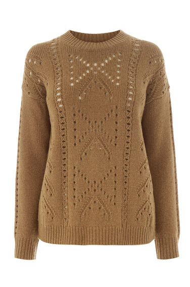 Warehouse, BOW POINTELLE CREW JUMPER Camel 0