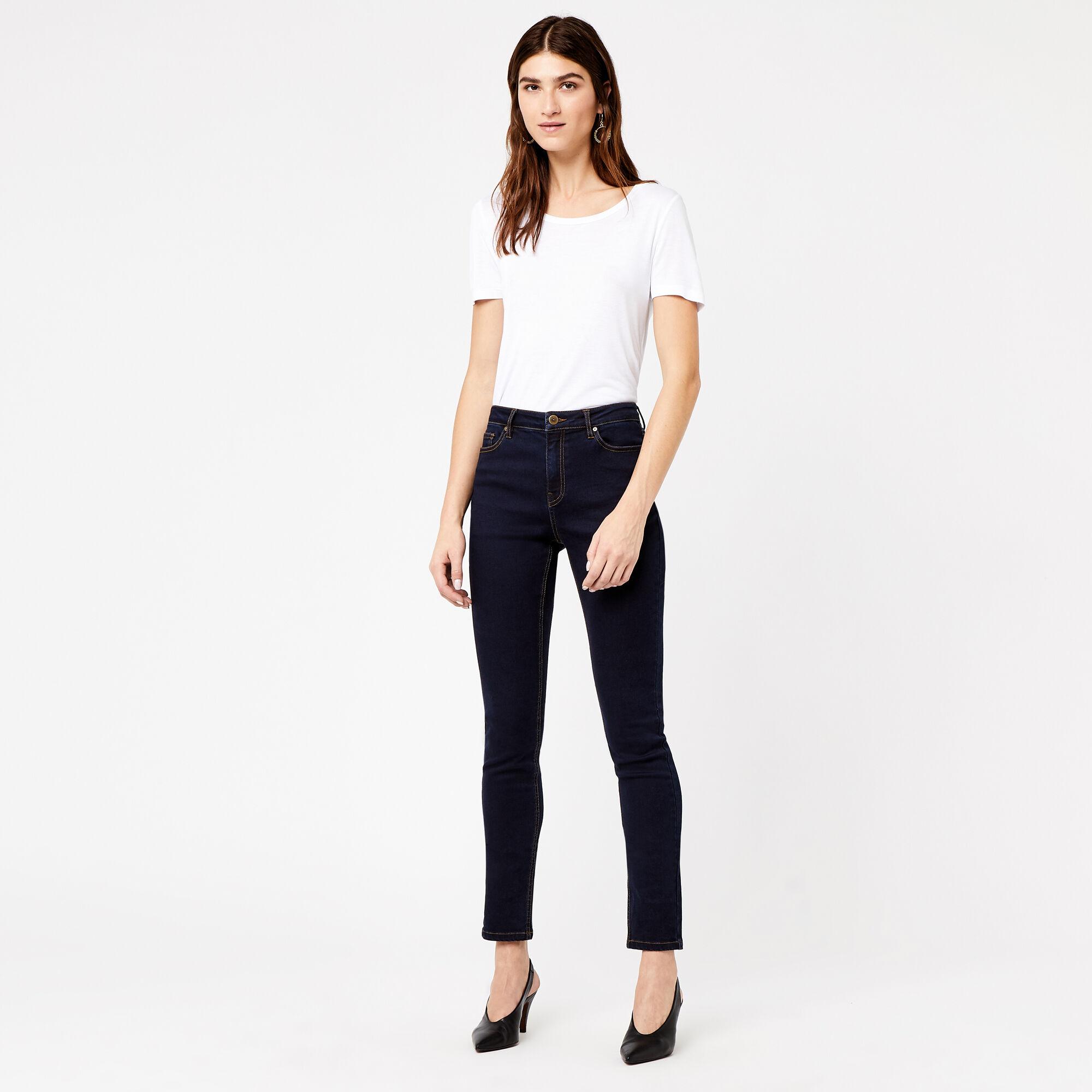 Warehouse, Powerhold Skinny Cut Jeans Dark Wash Denim 1