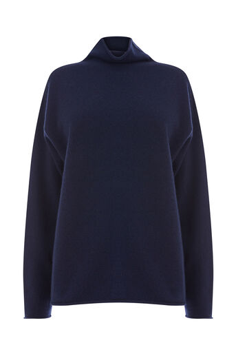 Warehouse, CASHMERE FUNNEL NECK JUMPER Navy 0