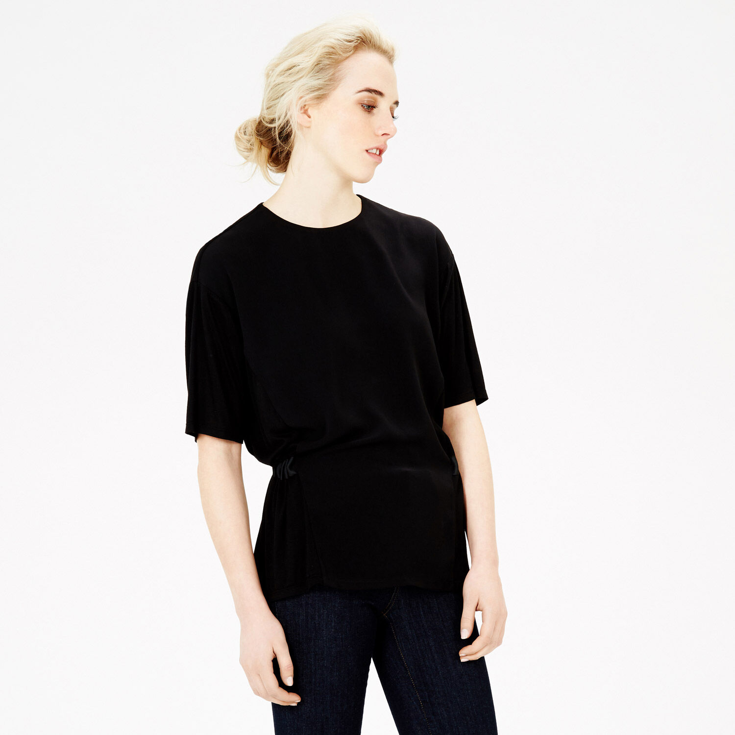Warehouse, GATHERED BACK TOP Black 1