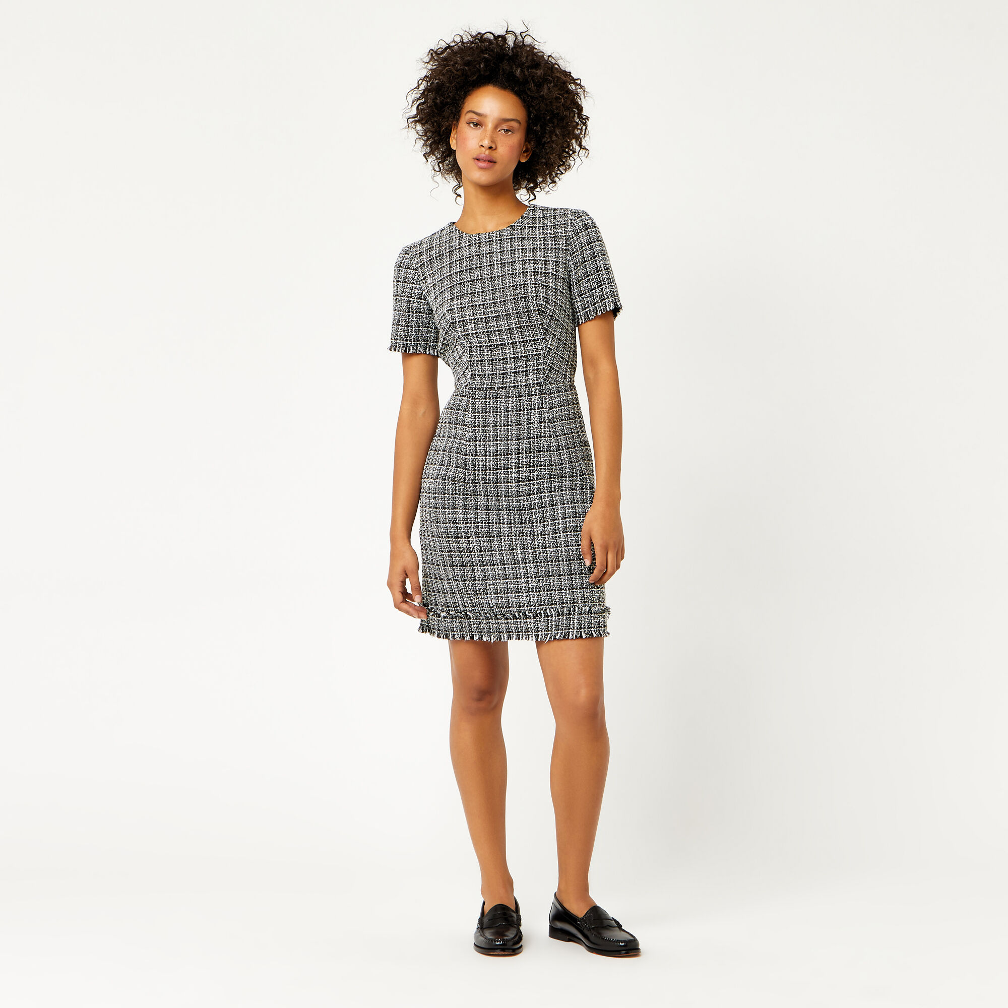 Warehouse, MONO TWEED DRESS Black Pattern 1