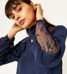 Warehouse, RUFFLE LACE MIX TOP Navy 4