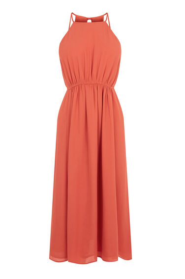 Warehouse, EMPIRE CHANNEL MIDI DRESS Coral 0