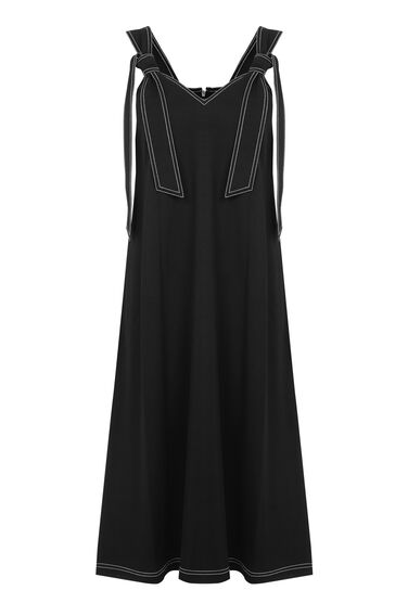 Warehouse, TOPSTITCH TIE SHOULDER DRESS Black 0