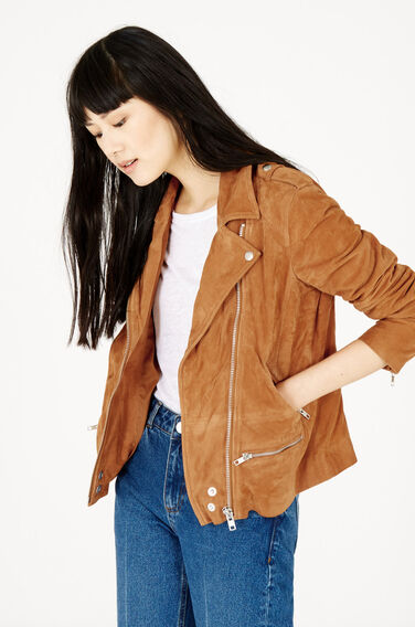 Warehouse, Suede Biker Jacket Tan 1