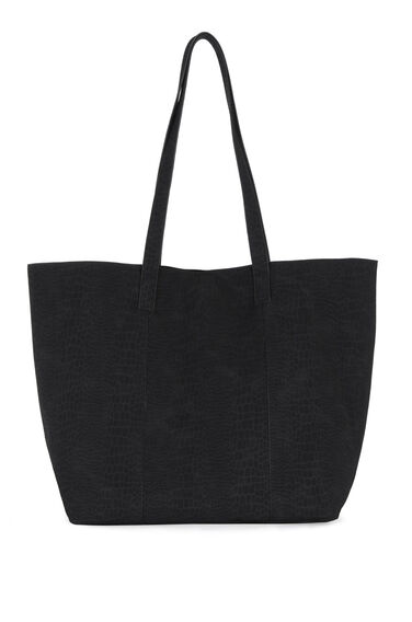 Warehouse, Embossed Croc Shopper Bag Black 0