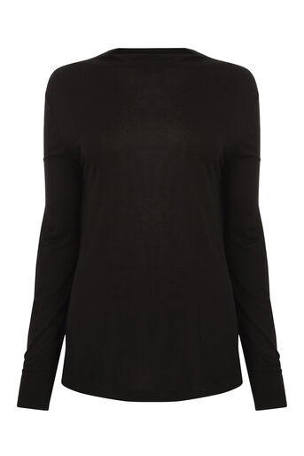 Warehouse, GROWN ON NECK JERSEY TOP Black 0