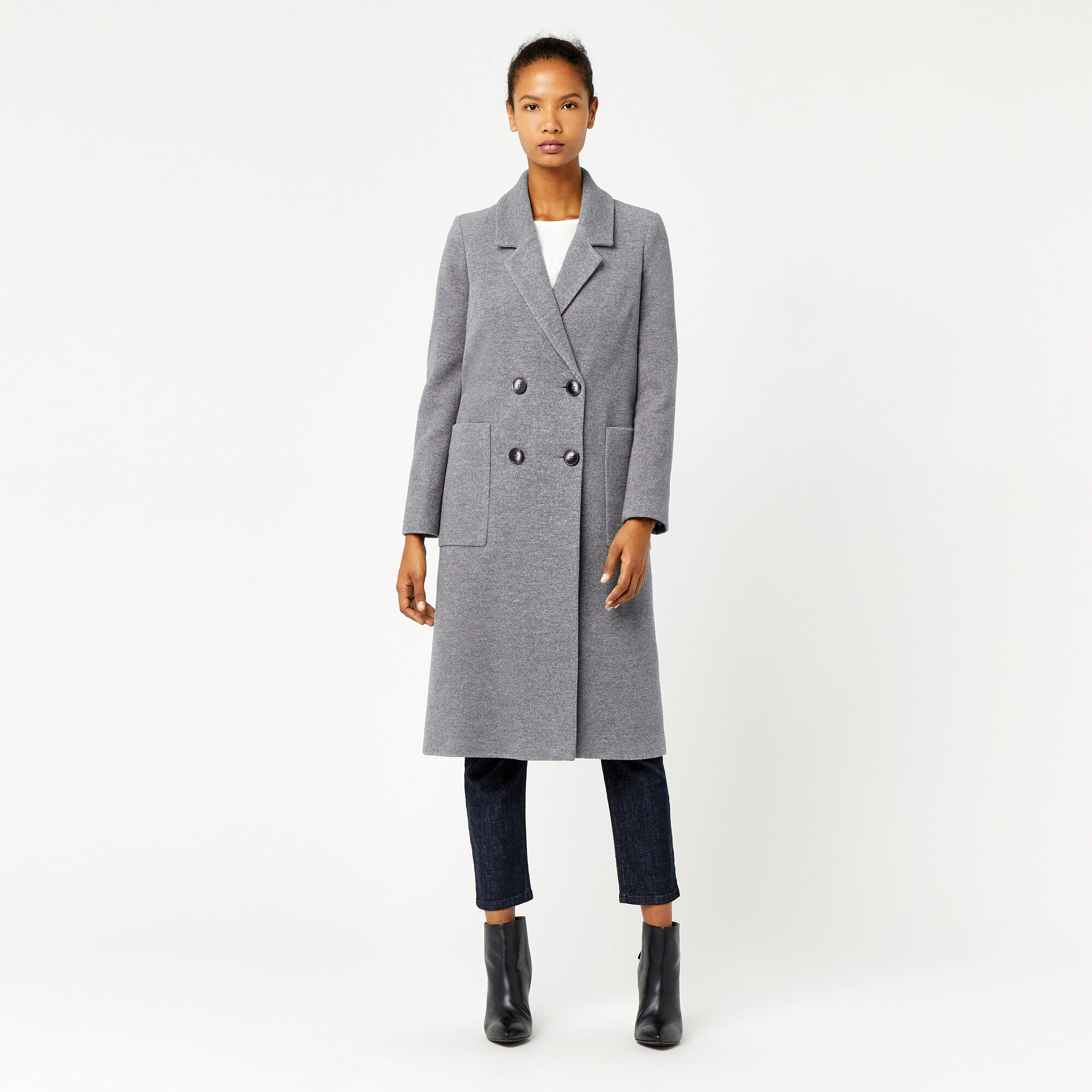 Warehouse, Silk Mix Long Line Crombie Dark Grey 1