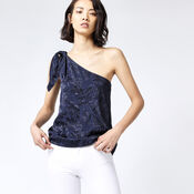 Warehouse, LEAF JACQUARD TOP Navy 1