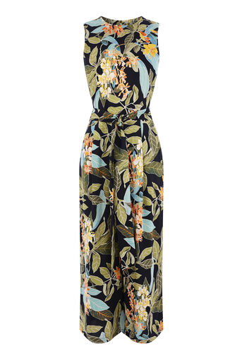 Warehouse, TROPICAL GARDEN JUMPSUIT Black Pattern 0
