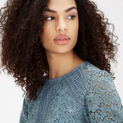 Warehouse, PANELLED LACE TOP Light Blue 4