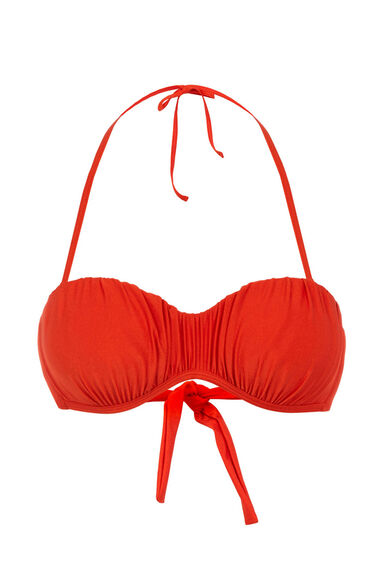 Warehouse, Ruched Bikini Top Orange 0