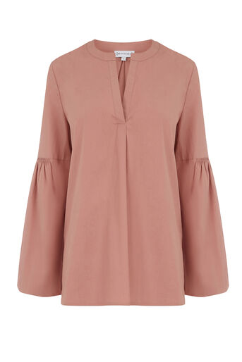 Warehouse, COTTON BLOUSON SLEEVE TOP Light Pink 0