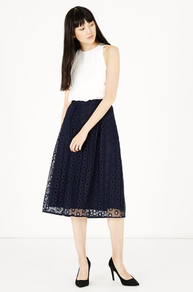 Warehouse, LACE AND WOVEN MIX PROM DRESS Navy 1