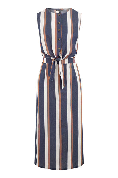 Warehouse, Stripe Tie Front Dress Blue Stripe 0