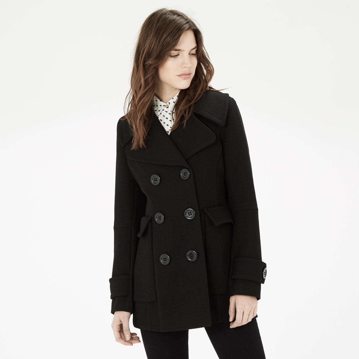 Warehouse, Crepe Double Breasted Coat Black 1