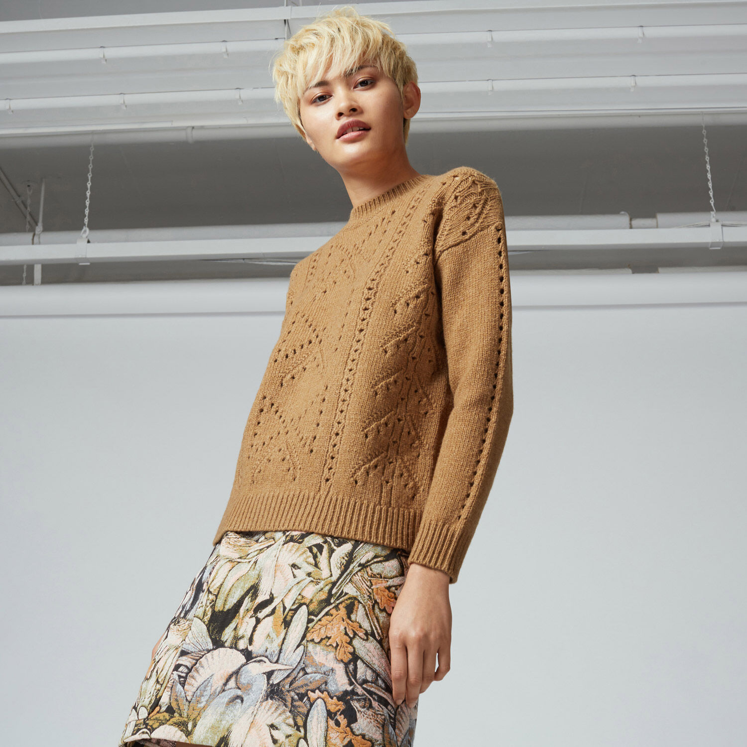 Warehouse, BOW POINTELLE JUMPER Camel 1
