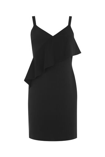 Warehouse, STRAPPY FRILL CREPE DRESS Black 0