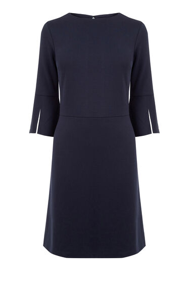 Warehouse, SPLIT CUFF PONTE DRESS Navy 0