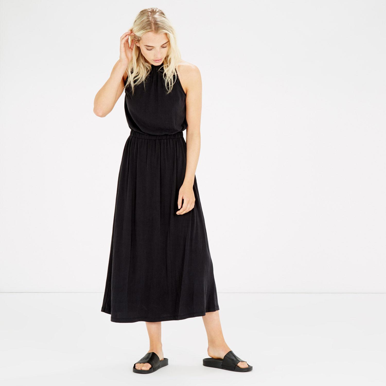 Warehouse, PREMIUM FABRIC OPEN BACK DRESS Dark Grey 1