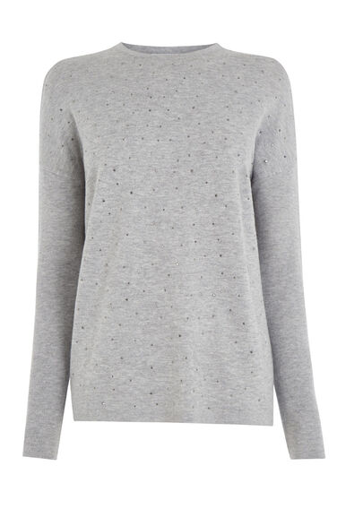 Warehouse, STUD FRONT JUMPER Light Grey 0