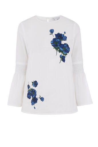 Warehouse, DELIA EMBROIDERED TOP White 0
