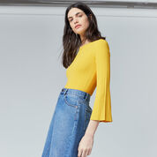 Warehouse, MULTI RIB FLUTED SLEEVE JUMPER Yellow 1