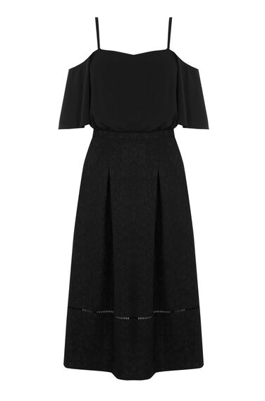 Warehouse, LACE WOVEN MIX DRESS Black 0