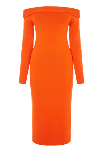 Warehouse, BARDOT MIDI DRESS Orange 0