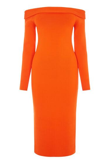 Warehouse, BARDOT MIDI DRESS Orange 0