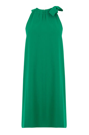 Warehouse, BOW DETAIL HALTERNECK DRESS Bright Green 0