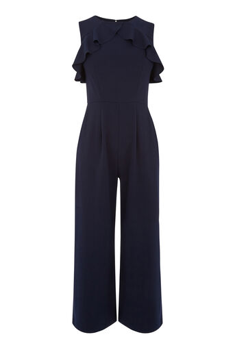 Warehouse, CREPE OPEN BACK FRILL JUMPSUIT Navy 0