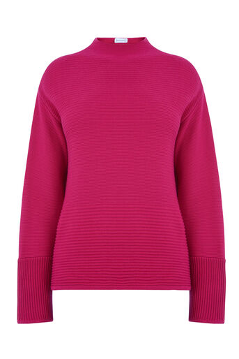 Warehouse, OTTOMAN RIB JUMPER Bright Pink 0