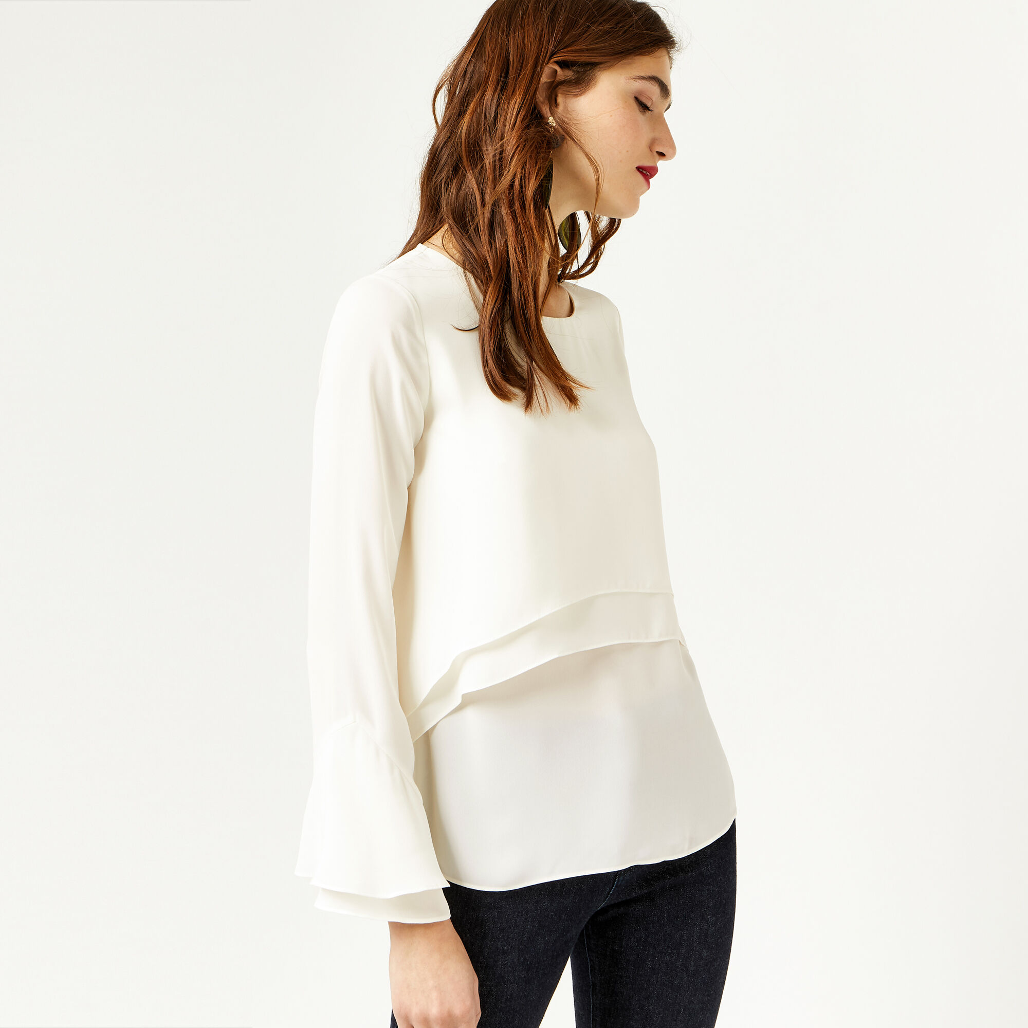 Warehouse, DOUBLE LAYER TOP Cream 1