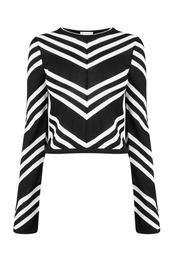 Warehouse, MONO CHEVRON CROP JUMPER Black Stripe 0