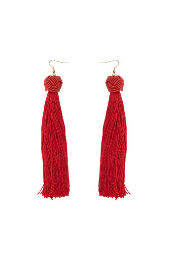 Warehouse, LARGE FABRIC TASSEL EARRING Bright Red 0