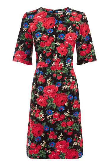 Warehouse, ROSE PRINTED PONTE DRESS Multi 0